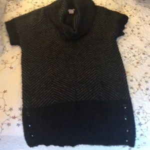 Women's cowl neck black tunic sweater